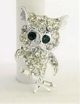 VINTAGE ESTATE Jewelry RHINESTONE OWL BROOCH - $10.00