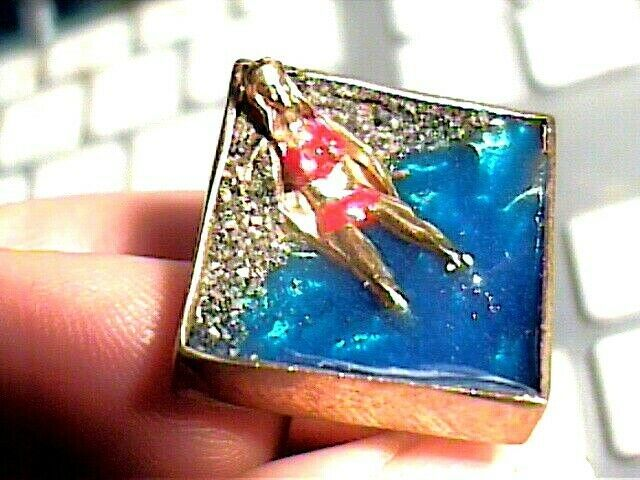 BEACH VACATION CRUSE RING  925 STERLING Silver Ring ENAMEL ART FUN RARE LADY WOW