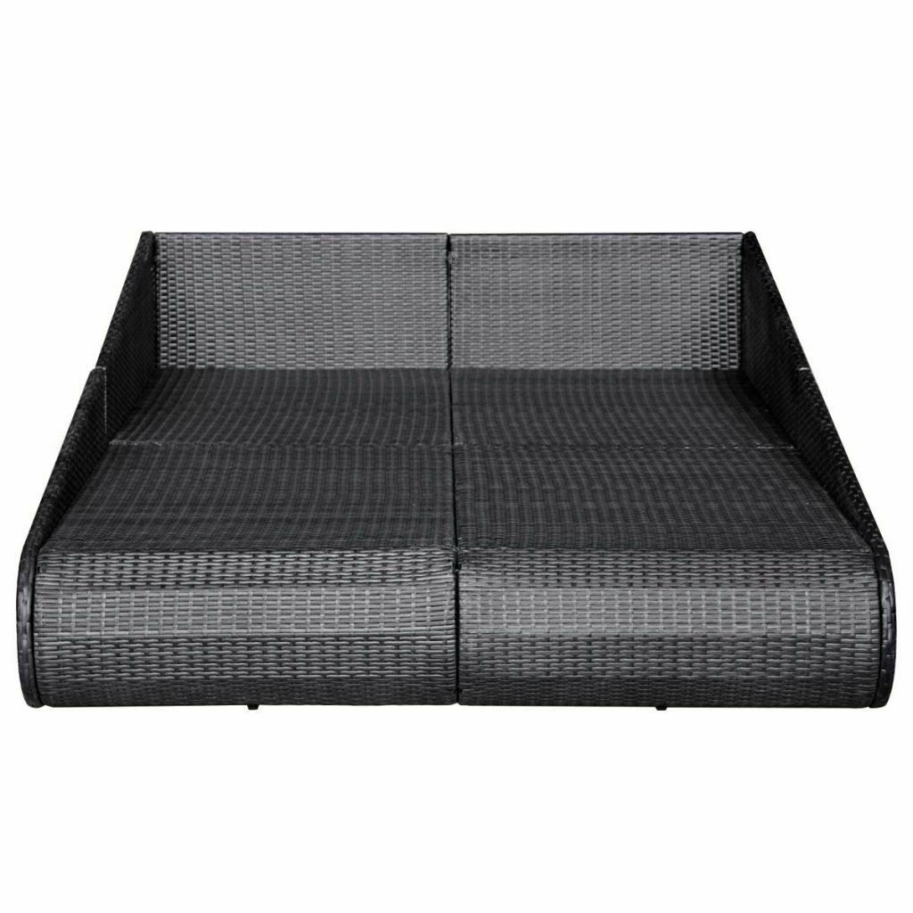 vidaXL Outdoor Daybed Poly Rattan Wicker Black Garden Furniture Sun Lounger image 5