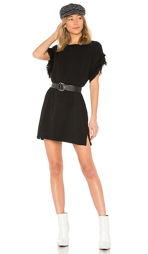 NWT 148$  Current Elliott T-Shirt Dress THE RECRAFTED RUFFLE Black Ruffle