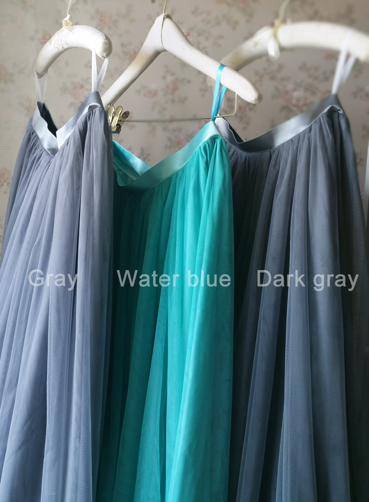 Dark gray wedding maxi tulle skirt 9
