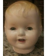 "Large Vintage Doll Head 6.5"" x 6"" x 6"" Brown/Gray eyes move up and down ... - $18.80"