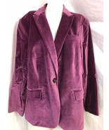 Talbots Woman Velveteen One Button Blazer Size 20WP, Plum, NWT - $33.24