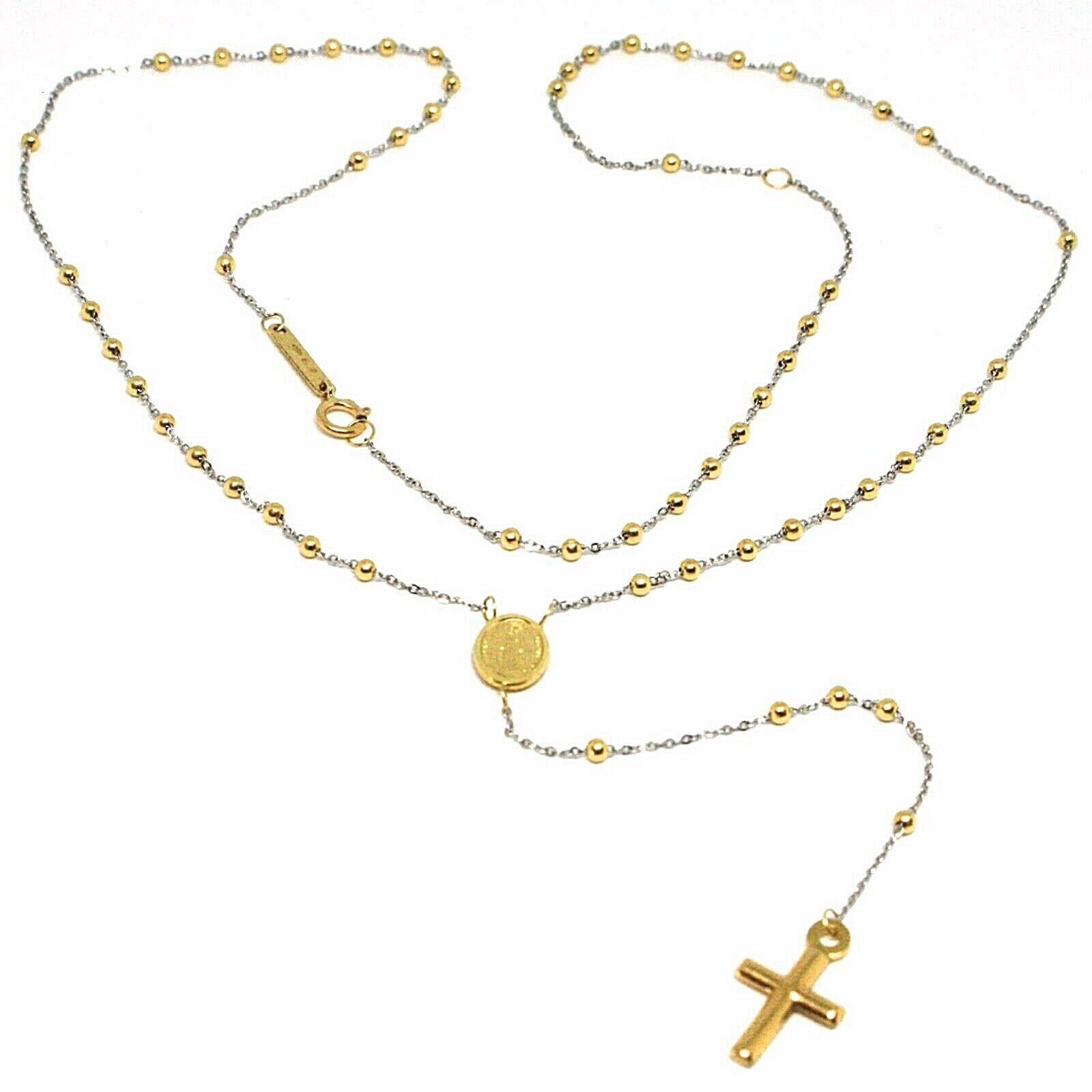 18K YELLOW WHITE GOLD MINI ROSARY NECKLACE MIRACULOUS MARY MEDAL JESUS CROSS
