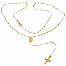 18K YELLOW WHITE GOLD MINI ROSARY NECKLACE MIRACULOUS MARY MEDAL JESUS CROSS image 1