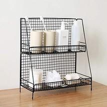 S.H. Black 2 Tier Wire Basket Bathroom Organizer Shelves Cosmetic Makeup... - £26.58 GBP