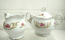"Style House ""Rose Baroque"" Fine China Creamer And Sugar Bowl Japan - $18.66"