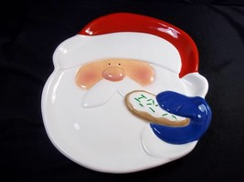 """Dept 56 Merry Merry 3D hand painted Santa with cookie plate 9"""" Christmas - $12.84"""