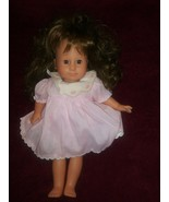 "Vintage Gotz Puppe  16"" Doll Brown Hair Brown Eyes Gotz dress Brunette - $66.53"