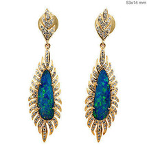 Blue Fire Opal Dangle Earrings 18k Yellow Gold Diamond Fashion Gemstone ... - $1,300.15