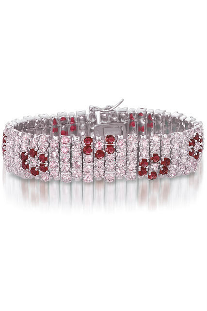 Primary image for Sterling Silver Pink and Red Floral Multi Row Bracelet