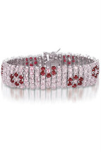 Sterling Silver Pink and Red Floral Multi Row Bracelet - $544.49
