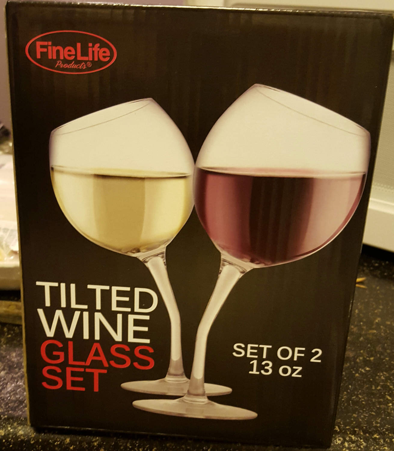 Incredible! Tilted Wine Glass Set by Fine Life , 13 oz each Brand New!