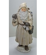 """10"""" Tall Antique Style Old World Santa Claus Holding Bells  & Toy Sack - $23.71"""