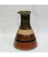 "Vintage Takahashi Stoneware Sake Bottle Vase Colorful Stripes Japan 5"" - $16.99"