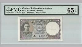 CEYLON 1 Rupee 1948 P-34 PMG 65 EPQ Gem UNC KGVI - $274.99