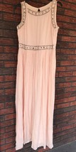 Forever 21 Pink Blush Long Dress Medium with Silver Beaded Formal Maxi Cruise - $37.23