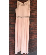 Forever 21 Pink Blush Long Dress Medium with Silver Beaded Formal Maxi C... - $37.23