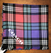 NWT Coach® Plaid Tartan Scarf f77768 True Red/Purple Wool NWT Gift Box A... - $69.29
