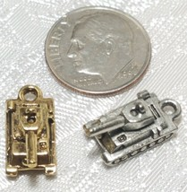 MILITARY TANK FINE PEWTER PENDANT CHARM - 8x15x7mm image 2