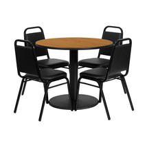 Offex 36'' Round Natural Table Set with 4 Black Trapezoidal Back Banquet... - $443.44