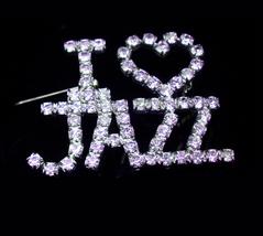 I love Jazz pin - Vintage rhinestone brooch - music pin - vintage music ... - $70.00
