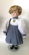 """Seymour Mann Doll with Glasses, Braids, Stand, No. 383, 1990, 15"""", Cameo Brooch - $36.97"""