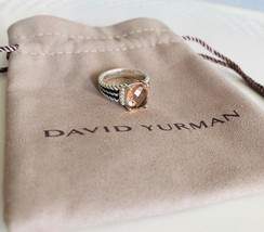 David Yurman Petite Wheaton Ring Morganite & Diamonds 7mm Sz 6.5 Authentic - $356.25