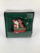 "1987 Enesco ""Here Comes Santa Claus Sleigh Away"" Christmas Ornament Vintage - $6.79"