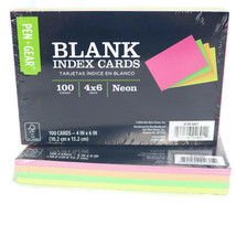 Pen + Gear 2 Packs of 100 Blank Index Cards 4 x 6 Neon Assorted Colors - $14.60