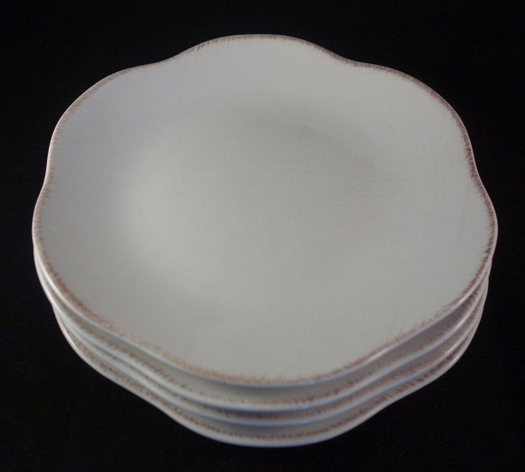 Set of 4 Studio Nova Mikasa JARDINETTE WHITE MW101 Salad Plates Great Condition! - $8.00