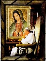 "Print Wood frame Virgen Guadalupe Pope Juan Pablo II Mexico Folk Art 17""... - $19.98"