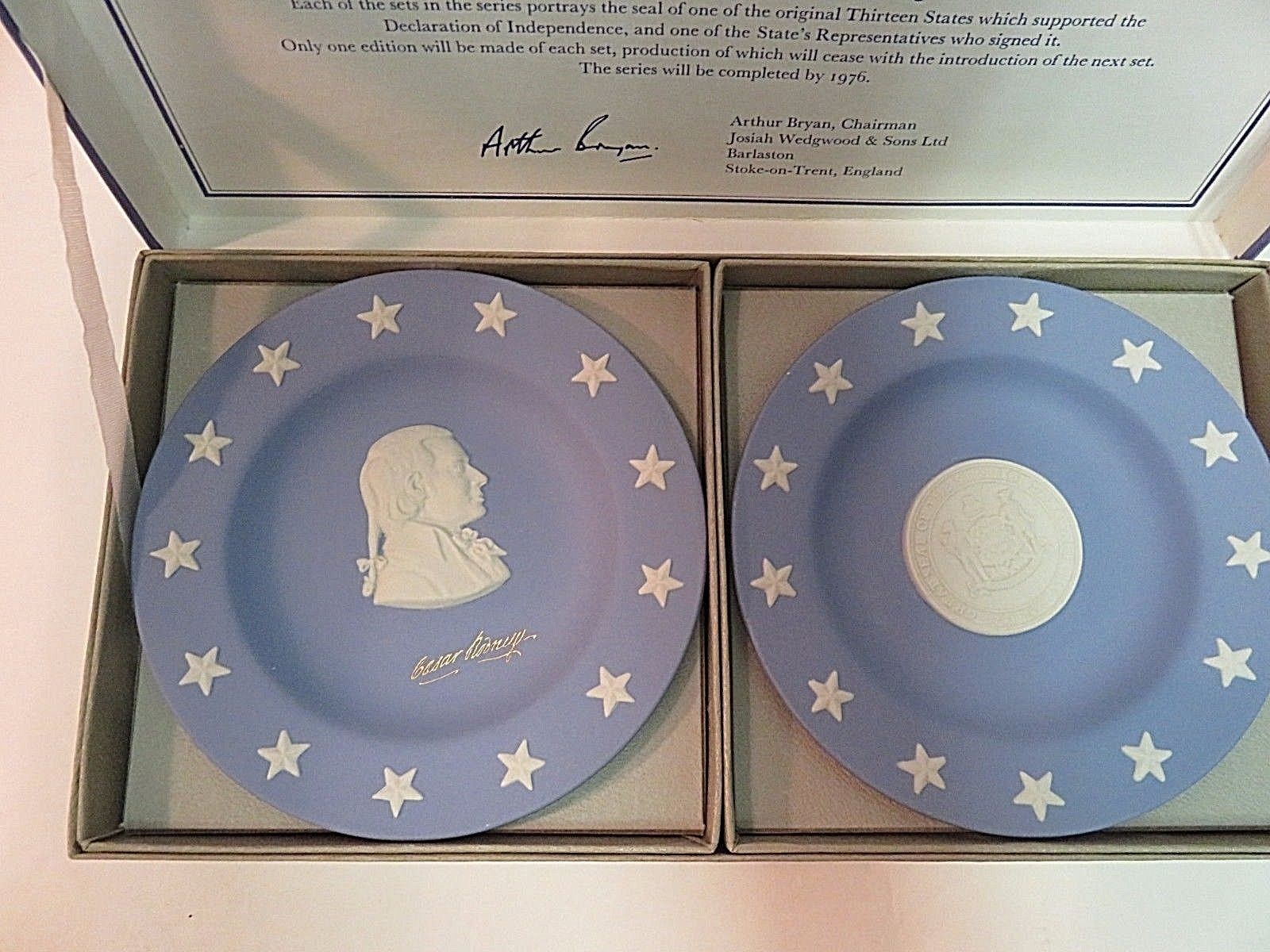 Wedgwood Jasper Blue Compotiers State Seal Series Delaware Small Plates in Box