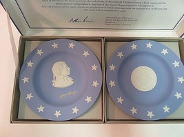 Wedgwood Jasper Blue Compotiers State Seal Series Delaware Small Plates in Box - $22.29