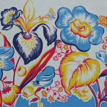 Vintage Floral Tablecloth Tropical Mid Century Rectangle - $24.99