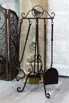 Wrought Iron Western Rustic Horse Fireplace Hearth Tool Kit 5 Pc Set Wit... - $79.99