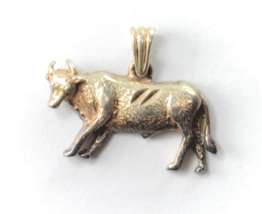 Sterling Silver Bull Cow Steer Small Charm Pendant 20mm x 26mm - $14.84