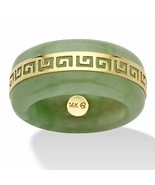 "Genuine Green Jade 14k Yellow Gold ""Greek Key"" Ring - $76.82"
