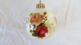 Roses Christmas White Glass Ball Ornament - $5.89