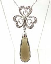 14k Gold Briolette Cut Genuine Natural Smoky Quartz Pendant w/ Diamonds ... - $250.75