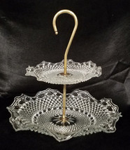 RARE! Vintage Indiana Glass Clear 2-Tier Tidbit Tray (1930-40s) - $54.00