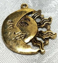MOON AND SUN WITH RAYS FINE PEWTER PENDANT CHARM image 1
