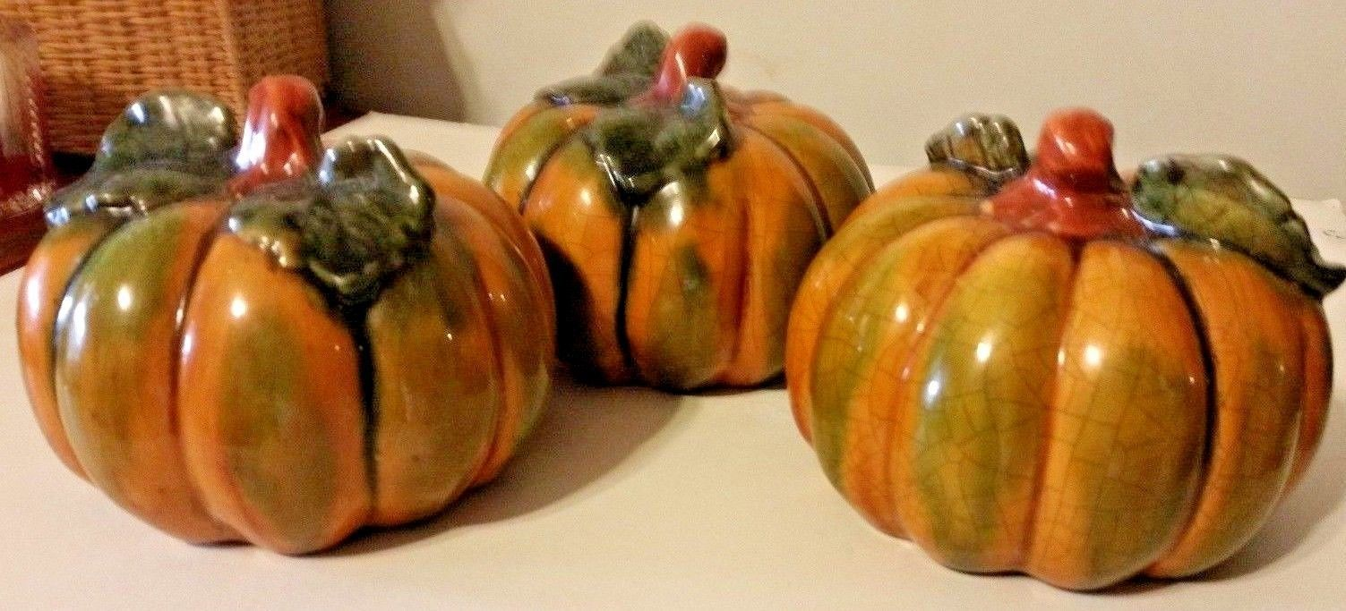 Vintage Realistic Ceramic Primitive Pumpkins Table Display Set Of 3 Fall Decor.