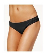 NEW Sundazed BLACK Solid Viva Side Tab Bikini Swim Hipster Bottom L Large - $9.89