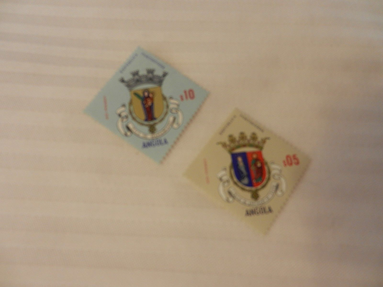 Lot of 2 Angola 1970s Stamps, Religious Coat of Arms