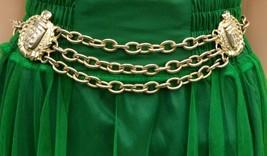 Gold Chain Link Metal Belt Women's One Size Ellen Tracey Crest Shield Ta... - $39.92