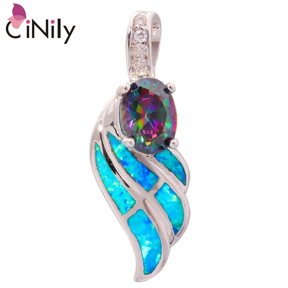 Blue Fire Opal Mytic Zircon Cubic Zirconia Silver Pendants Wholesale for Women J