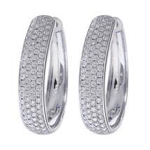 1.75 Carat Diamond Eternity Hoop Earrings 14K White Gold - $1,682.01