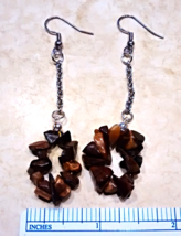 Tiger Eye hoop earrings. NICKEL FREE Surgical steel hoop Hypoallergenic - $5.94