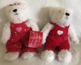 "Hallmark Cards Blushing Bears Boy & Girl Bears Plush Dolls 8 1/2"" w/ Tags - $14.99"